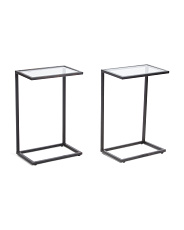 Set Of 2 Glass Top C Tables