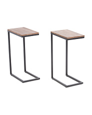 Set Of 2 Solid Acacia C Tables