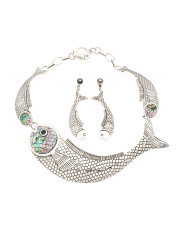 Handmade In Mexico Sterling Silver Pacific Abalone Fish Collection