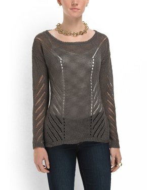 image of Linen Pointelle Sweater