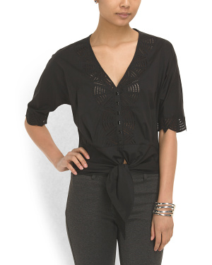 image of Cotton Blend Cut Out Top