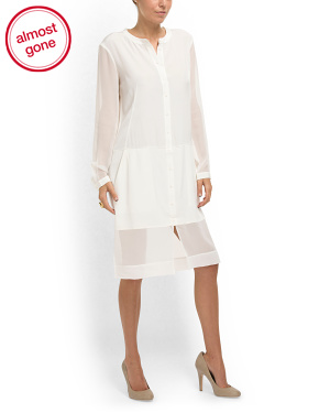 image of Silk Sheer Shirt Dress