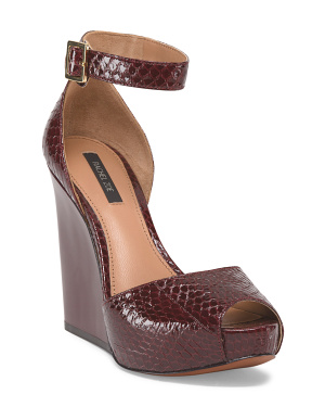image of Leather Peep Toe Wedge