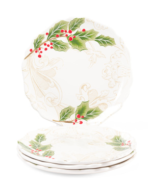 4pk Holly Toile Dinner Plates