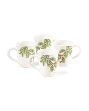 Holly Toile Set Of 4 Mugs
