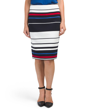 Striped Ottoman Knit Pencil Skirt