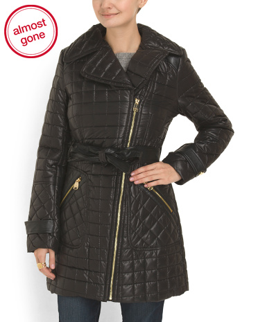 Moto Quilted Coat With Belt