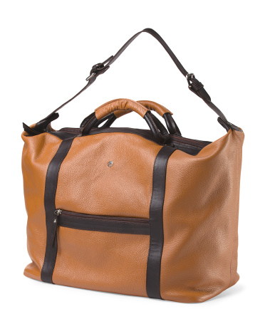 Made In Italy Leather Weekender Bag