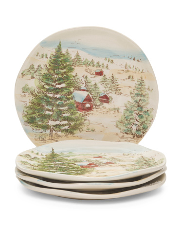 Set Of 4 Snowville Salad Plates