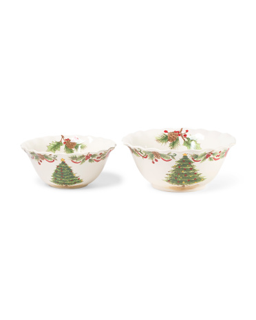 Set Of 2 Tree And Garland Serving Bowls