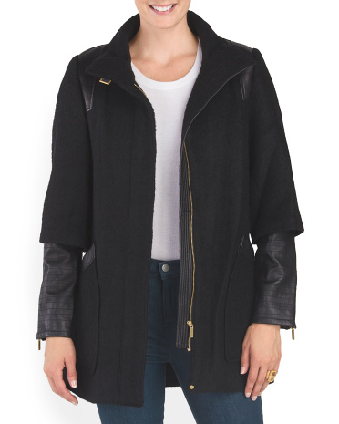 Wool Leather Combo Coco Coat