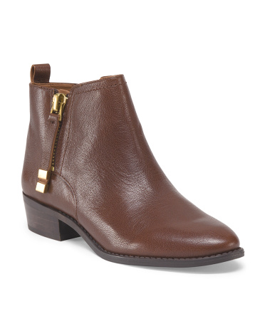 Leather Flat Side Zip Bootie