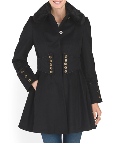 Wool Blend Corset Flared Coat