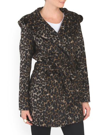 Hooded Belted Wrap Coat