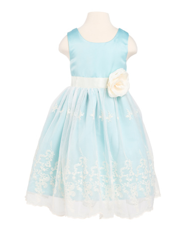 Little Girls' Mint And Ivory Lace Overlay Dress