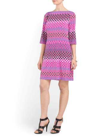 Printed Boat Neck Jersey Dress