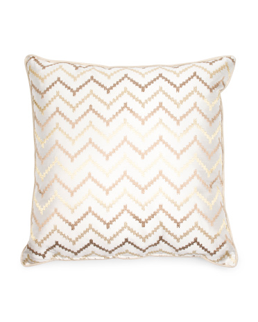 Metallic Embroidered Pillow