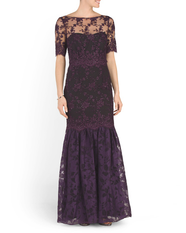 Lace Short Sleeve Gown