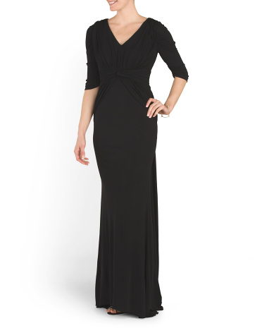 Elbow Sleeve V Neck Gown