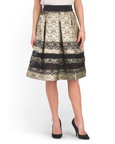 Jacquard Pleated Lace Detail Skirt
