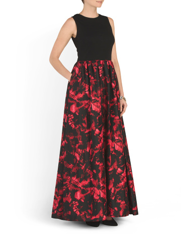 Sleeveless Printed Ball Gown