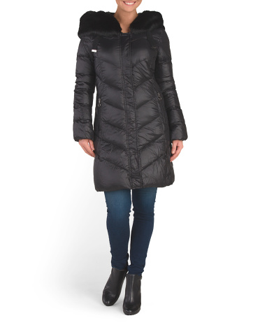 Austin Faux Fur Trim Hood Coat
