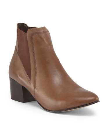 Made In Italy Leather Chunky Heel Side Gore Bootie