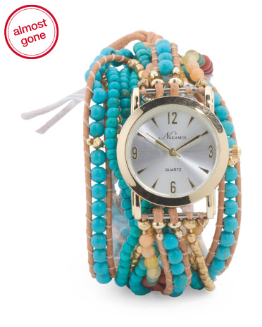 Turquoise Mix Agate Glass Bead Leather Wrap Bracelet Watch
