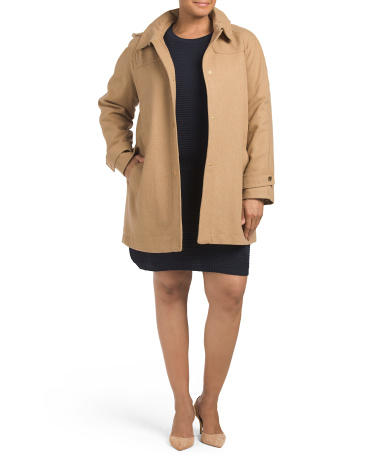 Plus Button Front Hooded Coat