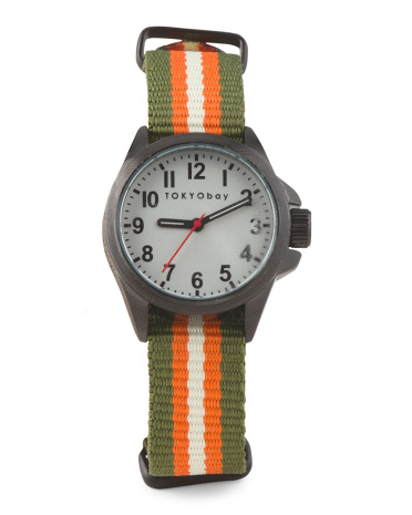 Women's Ivy Striped Nylon Strap Watch