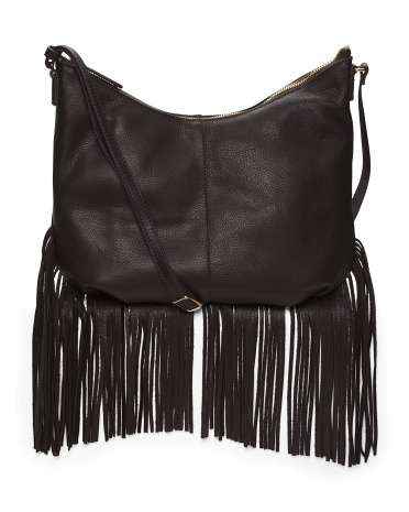 Pebble Leather Stevie Fringe Convertible Crossbody