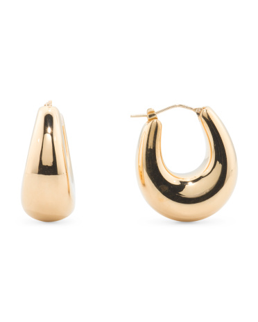 Made In Italy 14k Gold Graduated Oval Hoop Earrings