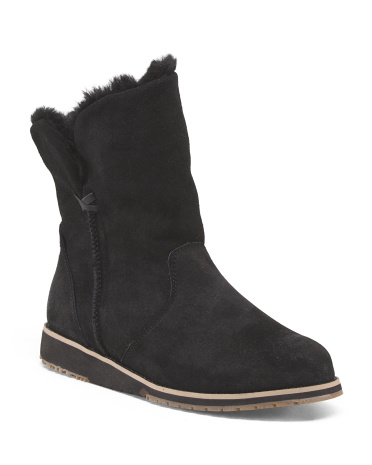 Suede Shearling Trimmed Mid Boot