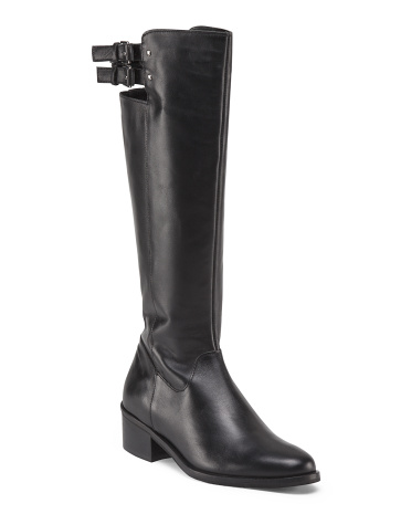 Leather Flat Buckle Riding Boot