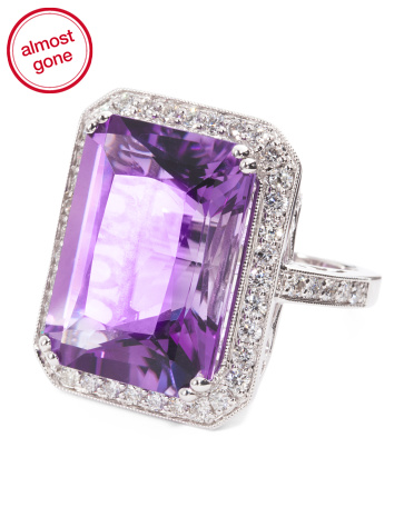 14k White Gold Diamond And Amethyst Emerald Cut Ring