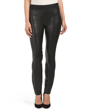 Ponte Faux Leather Front Legging