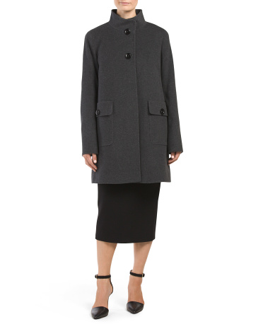 Made In Italy Wool Blend Two Button Stand Collar Coat
