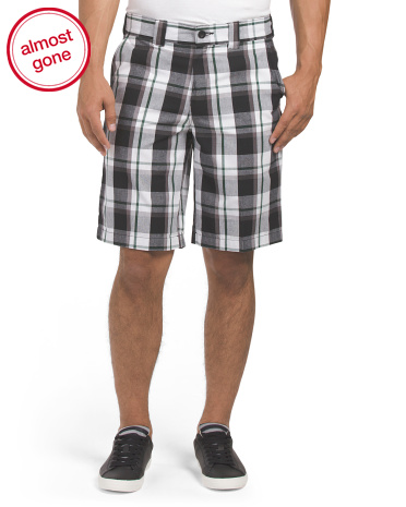 Slim Plaid Work Short