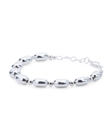 Made In Italy Sterling Silver Organic Bead Bracelet
