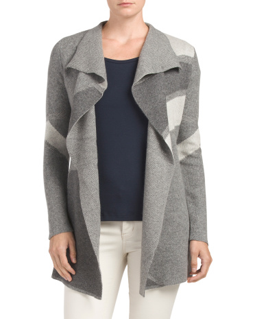 Patterned Drape Cashmere Cardigan
