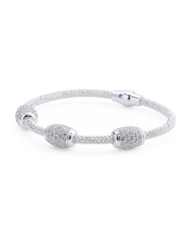 Made In Italy Sterling Silver Rondelle Magnetic Bracelet