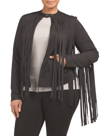 Plus Faux Suede Fringe Jacket