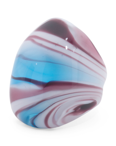 Made In Italy Murano Glass Blue & Purple Dome Ring