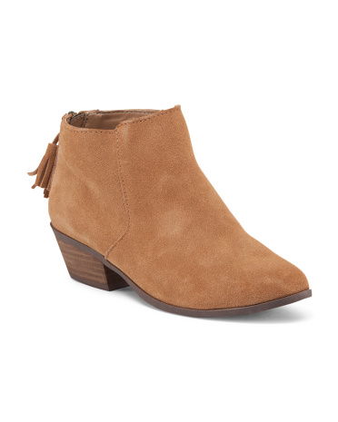 Suede Low Booties With Tassel