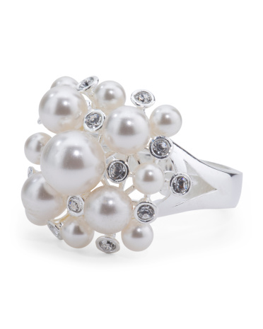 Made In Italy Sterling Silver And Pearl Cluster Ring