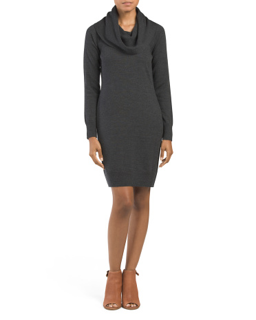 Merino Wool Cowl Neck Sheath Dress