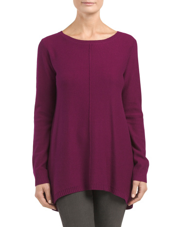 Cashmere Hi Lo Zip Back Sweater