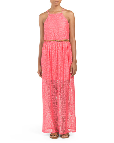 Juniors Lace Belted Maxi Dress