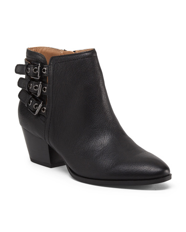 Geila Leather Buckle Strap Booties