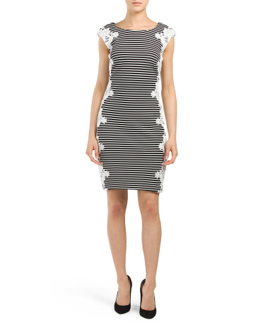 Stripe With Lace Sheath Dress
